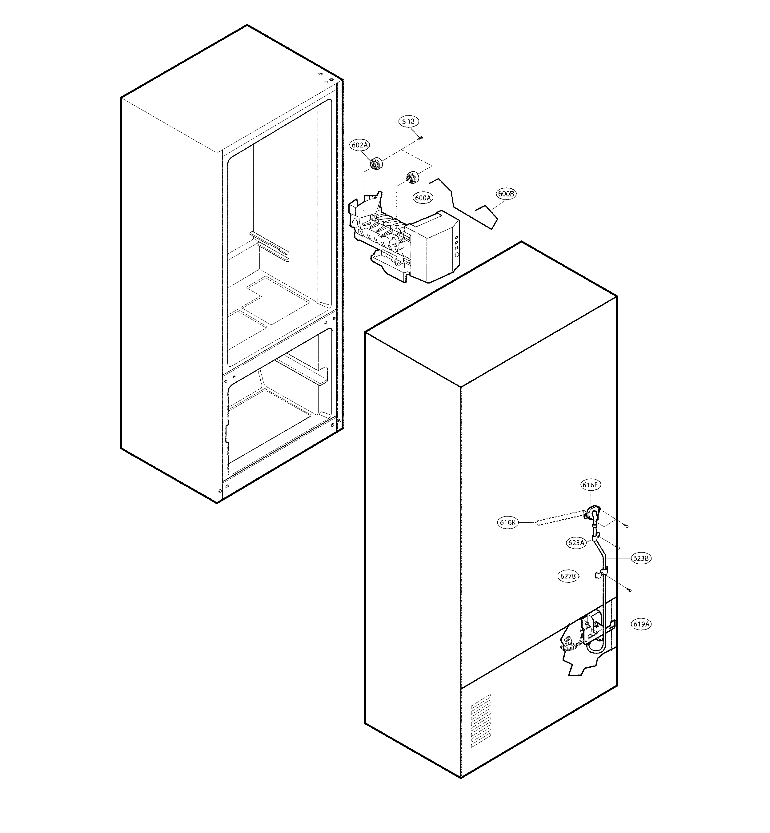 LG LFC25770SB/02 water and ice parts diagram