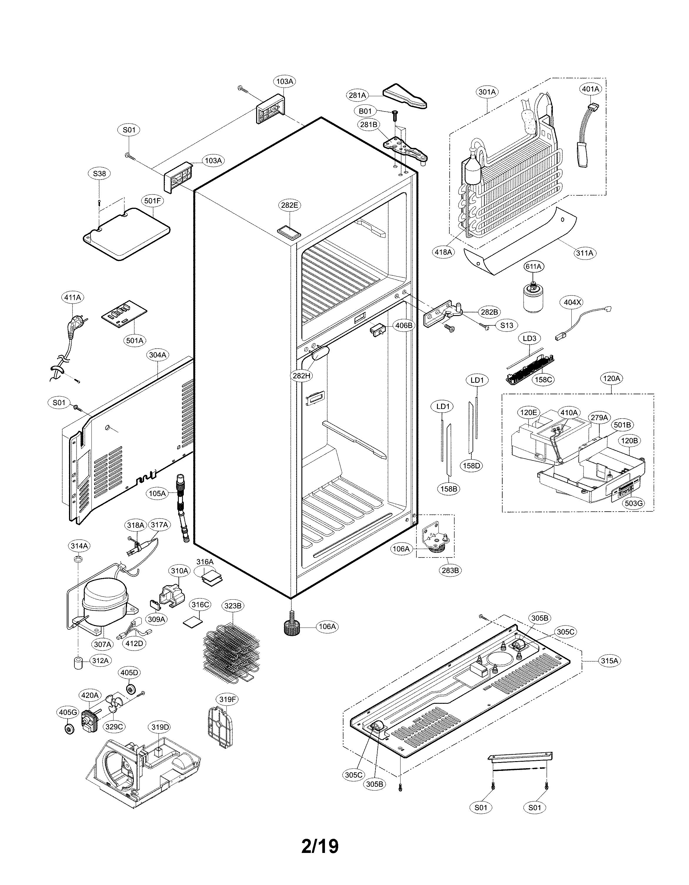 Kenmore  Refrigerator  Case parts