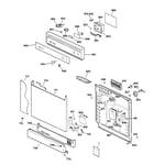 GE GSD2625F00BB escutcheon & door assembly diagram
