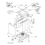 GE WSM2780WBAA washer cabinet & top diagram