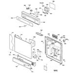 GE GSD2220F01BB escutcheon & door assembly diagram