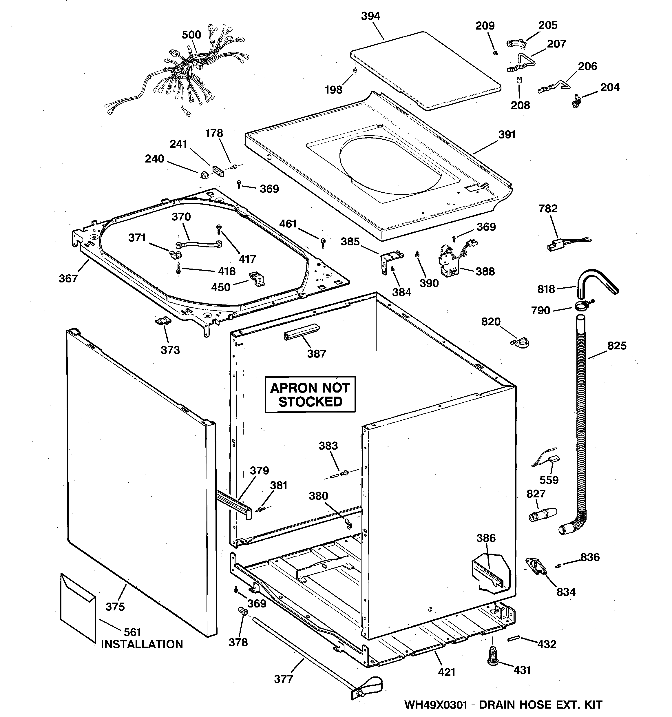 GE WCCB1030B0KC cabinet, cover & front panel diagram