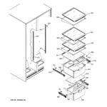 GE GSS22JEPABB fresh food shelves diagram