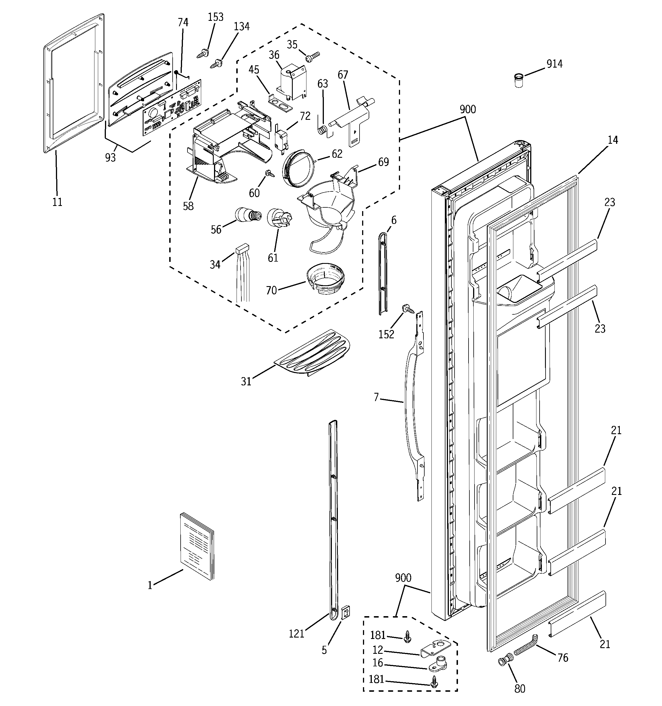 GE GSH22VGPACC freezer door diagram