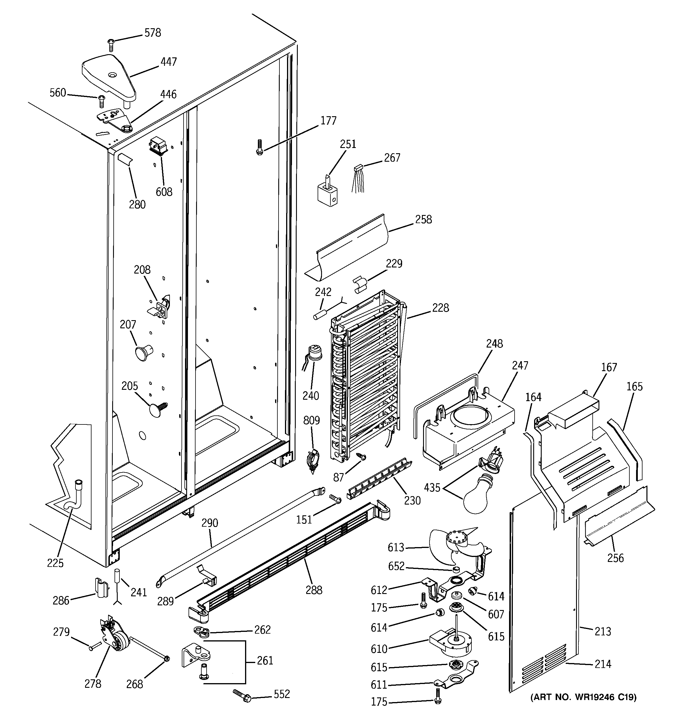 GE GSH22VGPACC freezer section diagram