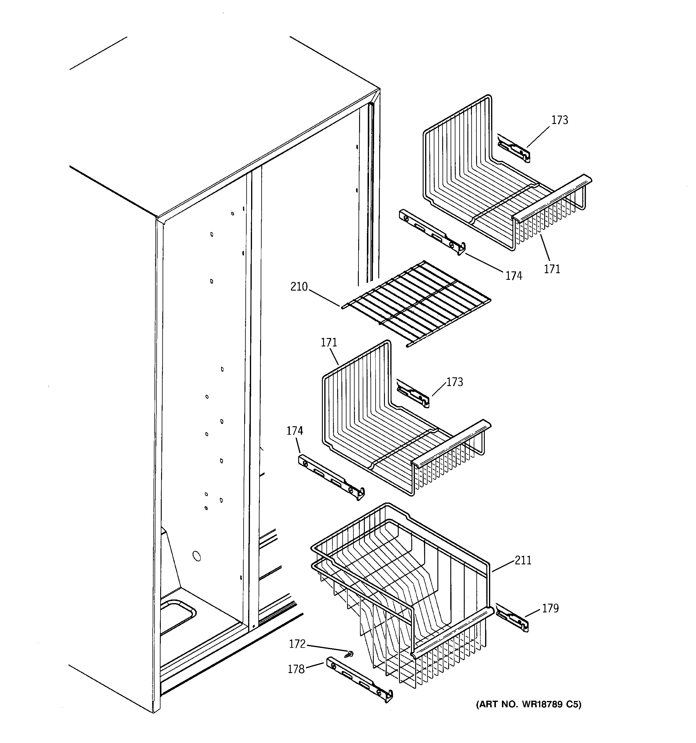 GE GSH22VGPACC freezer shelves diagram