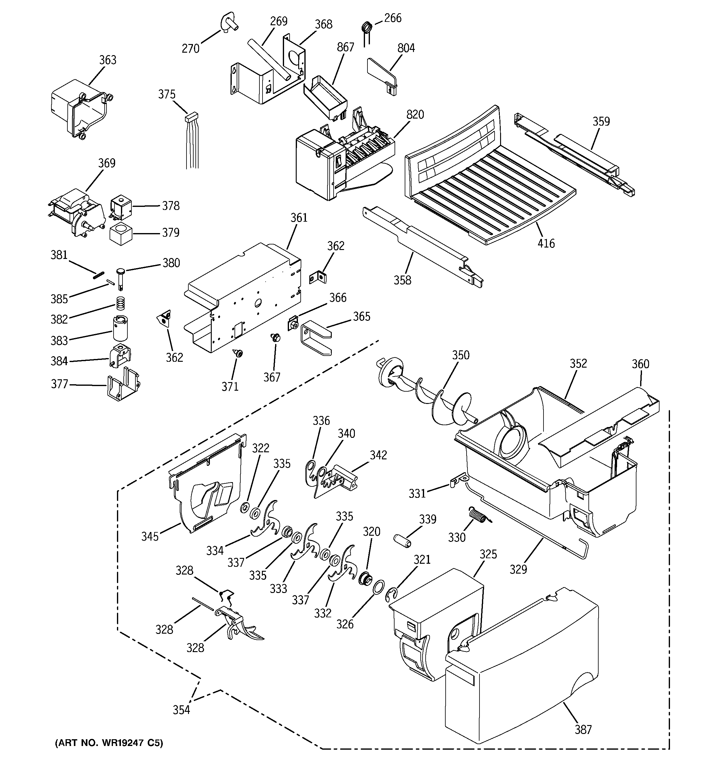 GE GSH22VGPACC ice maker & dispenser diagram