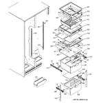 GE GST25KGMBCC fresh food shelves diagram