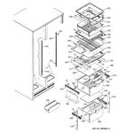 GE ESS25XGMBCC fresh food shelves diagram