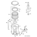 GE WHRE5260E1WW tub, basket & agitator diagram