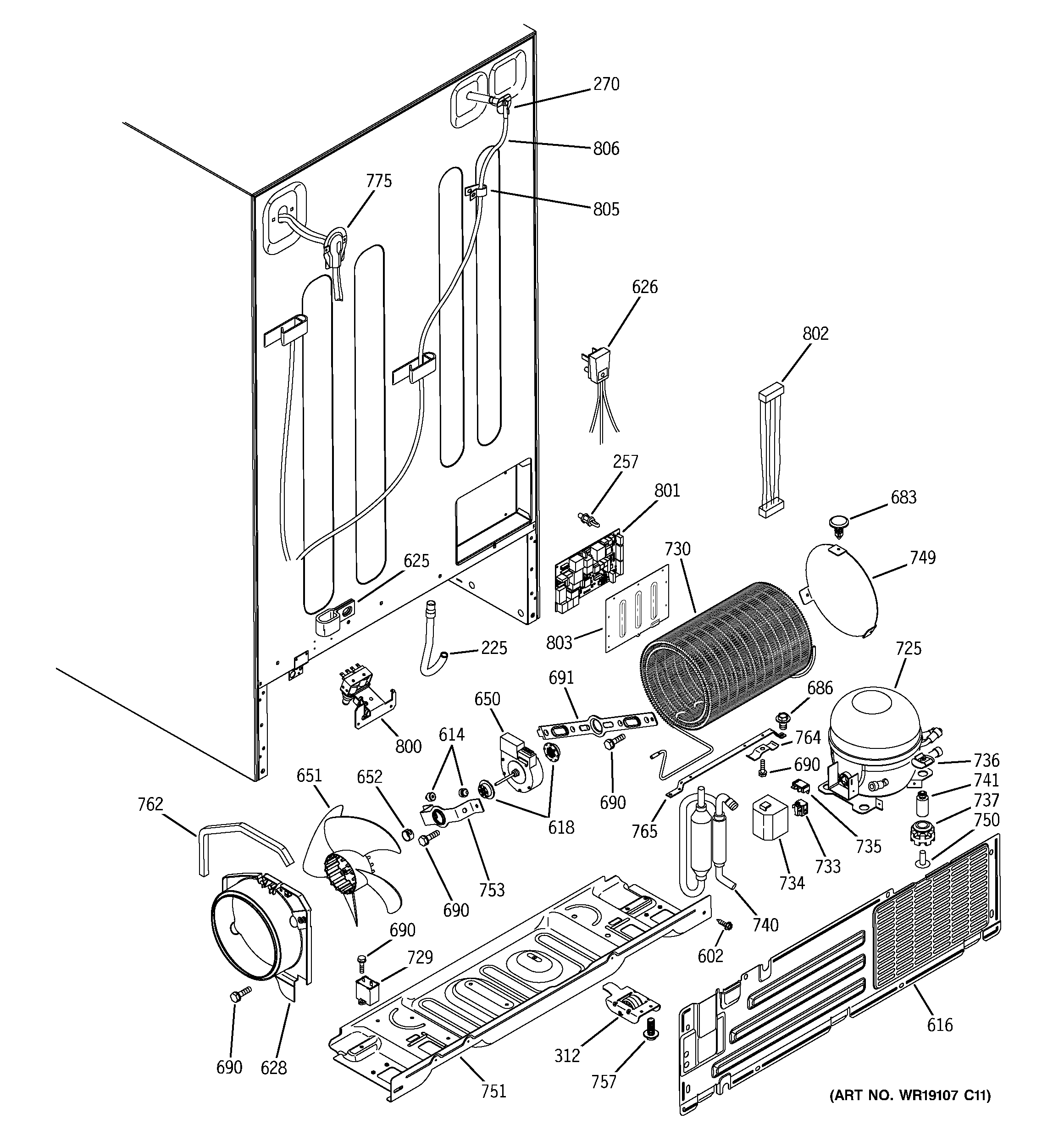 GE GSS25XGPBBB sealed system & mother board diagram