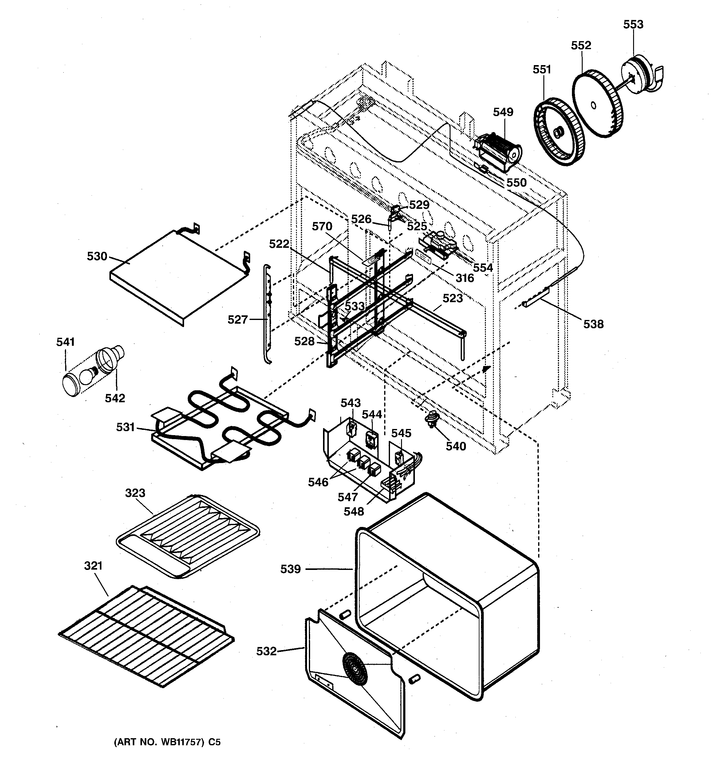 GE ZDP36N4RWSS oven assembly diagram