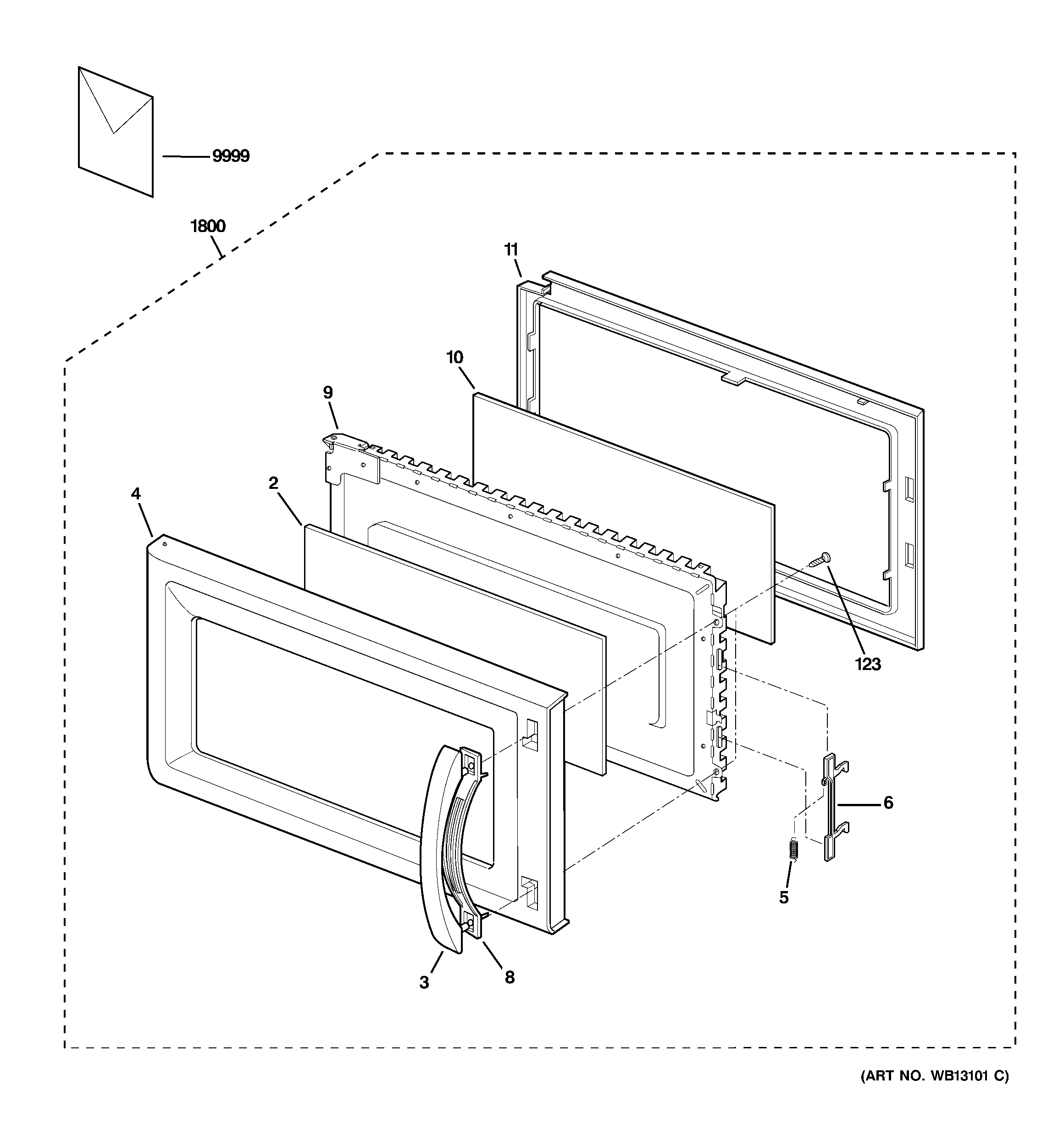 GE JVM1630CJ02 door parts diagram