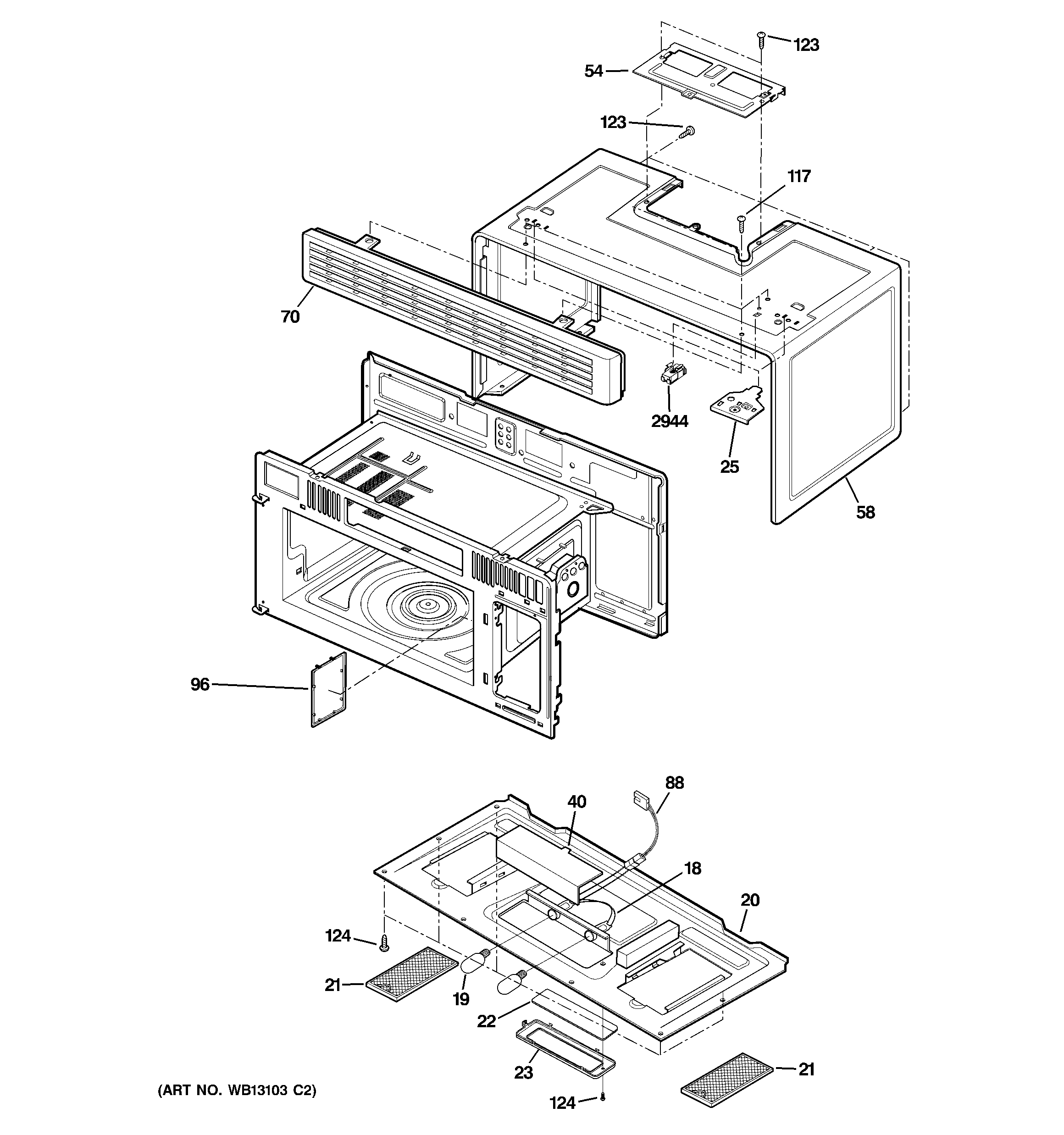 GE JVM1630CJ02 oven cavity parts diagram