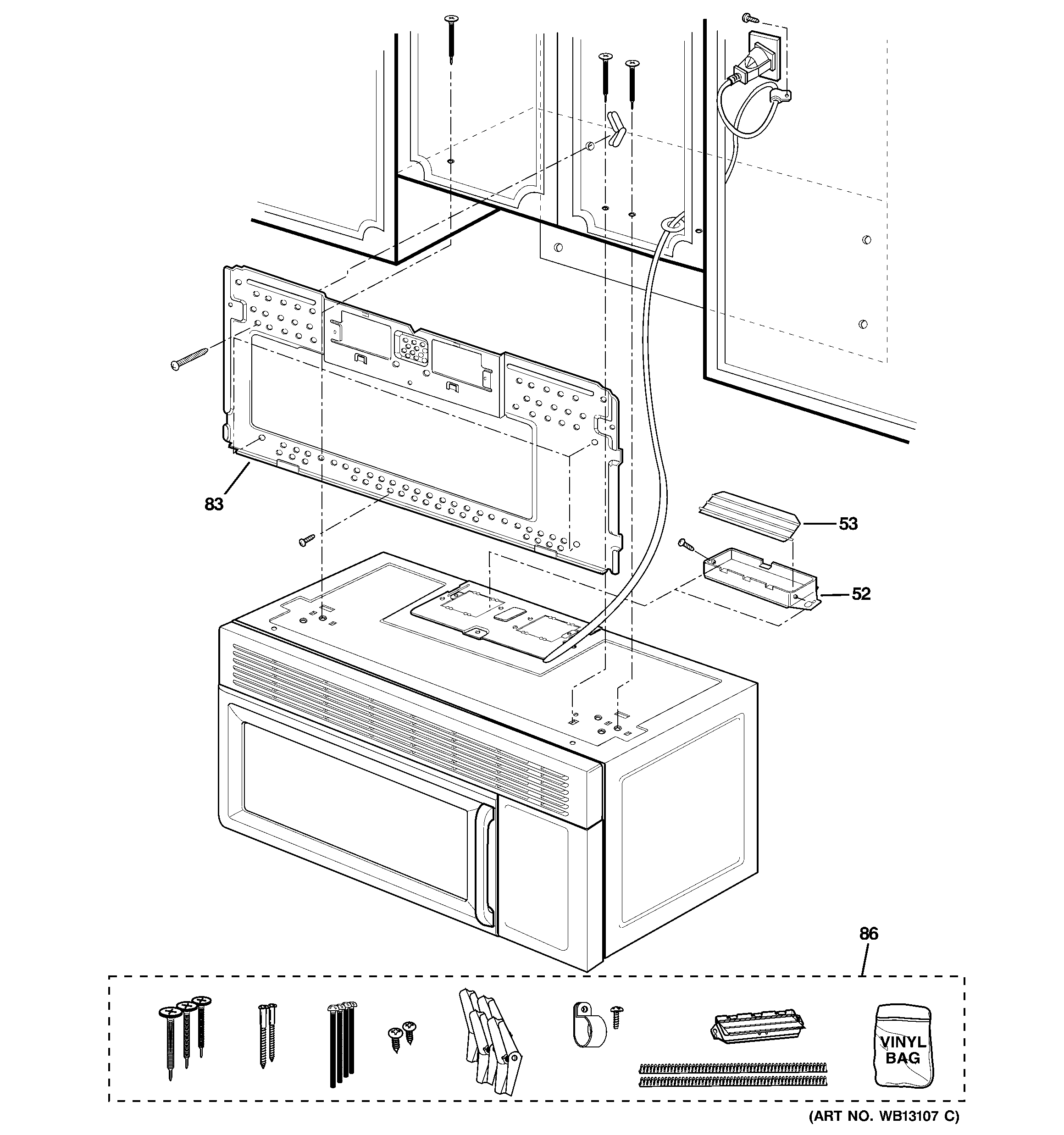 GE JVM1630CJ02 installation parts diagram