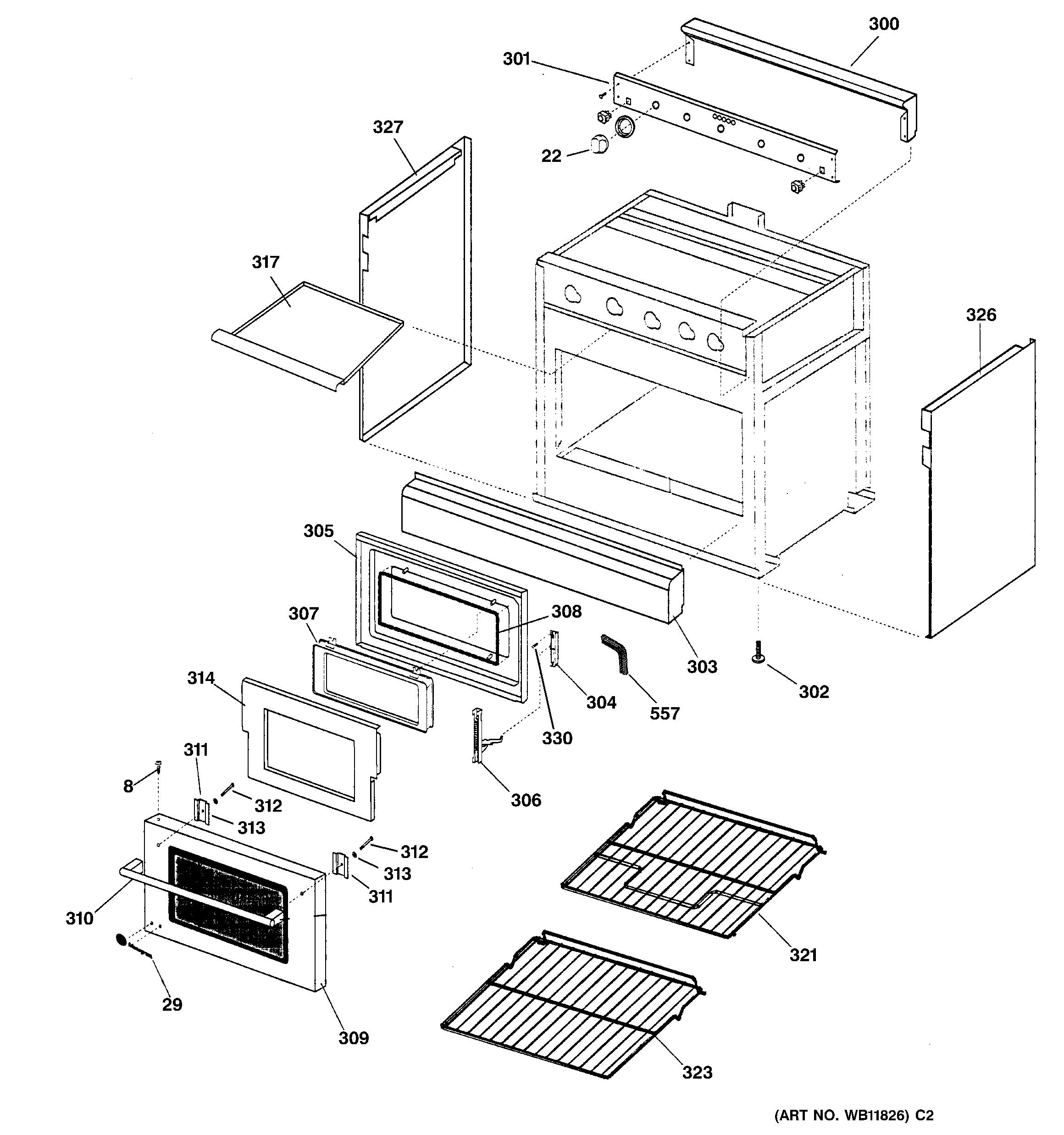 Ge  Gas Range  Case & door
