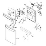 GE PDW8800L00BB escutcheon & door assembly diagram