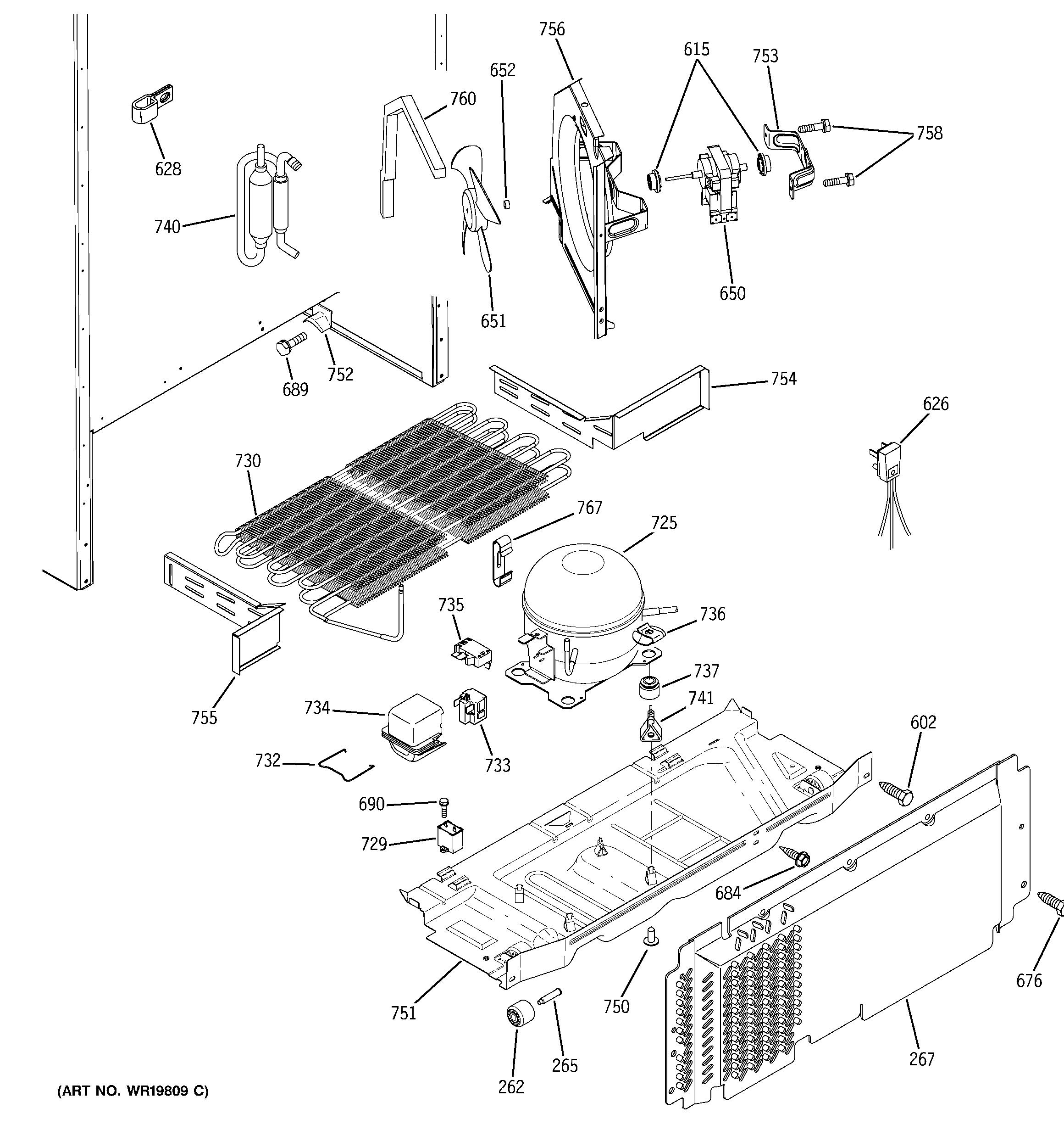 Ge  Refrigerator S Series  Unit parts