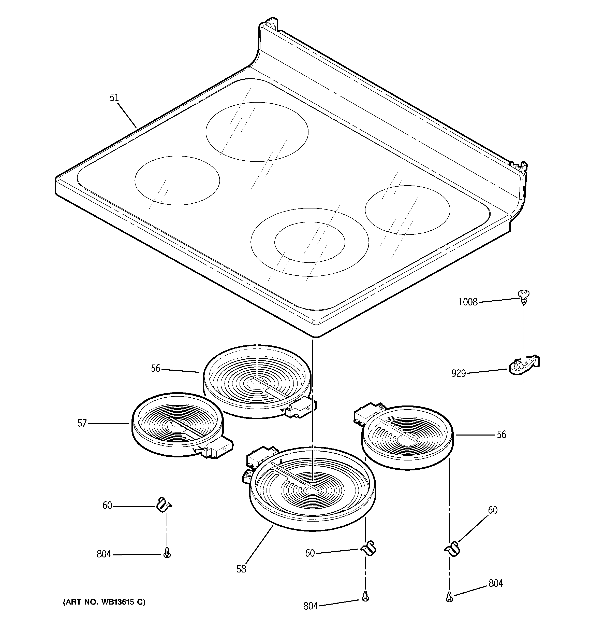 GE JCBP68HK2WW cooktop diagram