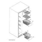 GE GSF25TGTABB freezer shelves diagram