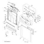 GE EDW6100N10CC escutcheon & door assembly diagram