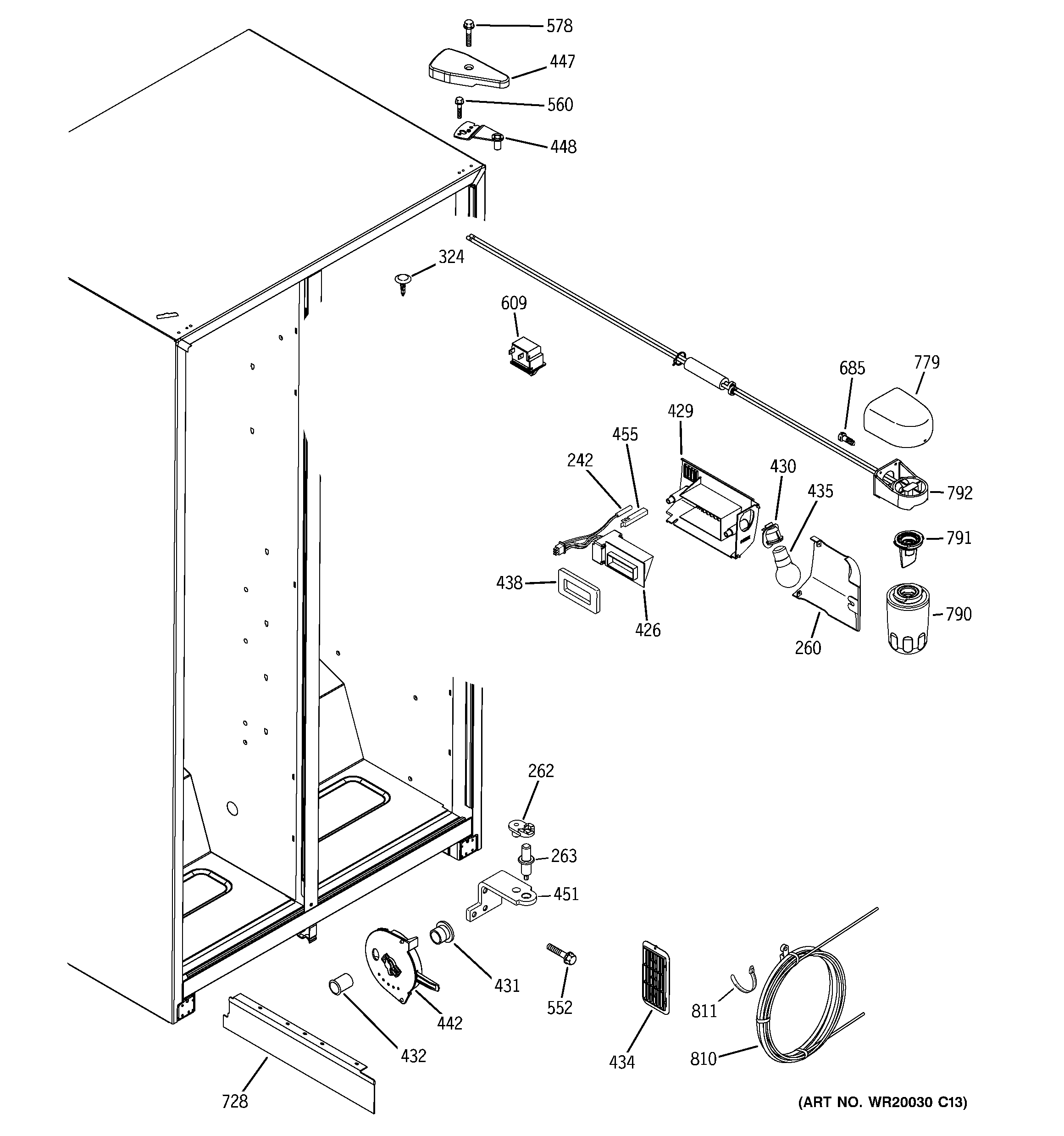 Hotpoint HSH25IFTECC fresh food section diagram