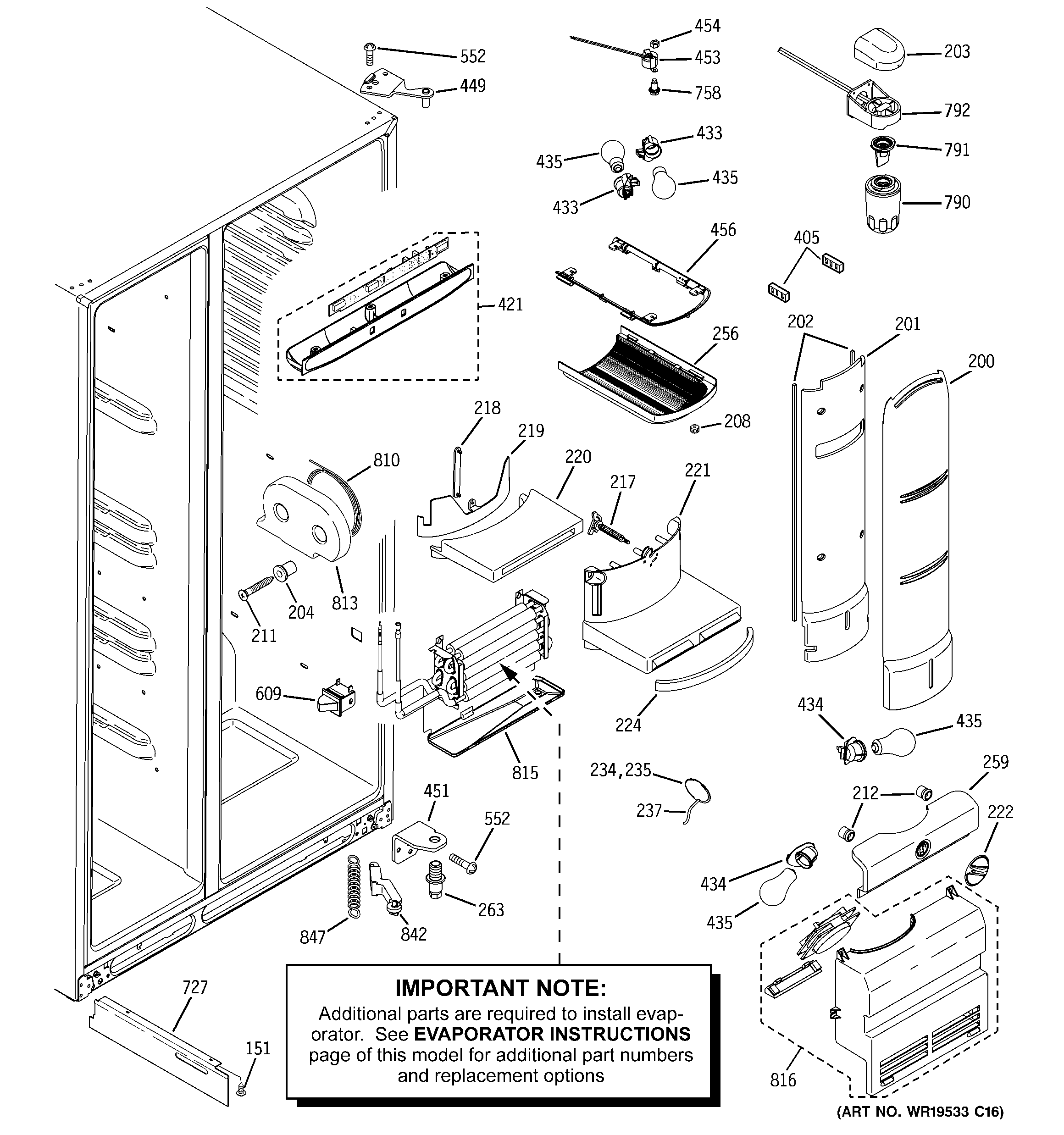 GE PJE25MGTEFKB fresh food section diagram