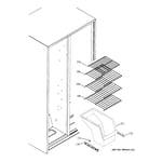 GE ESH22JFWEBB freezer shelves diagram