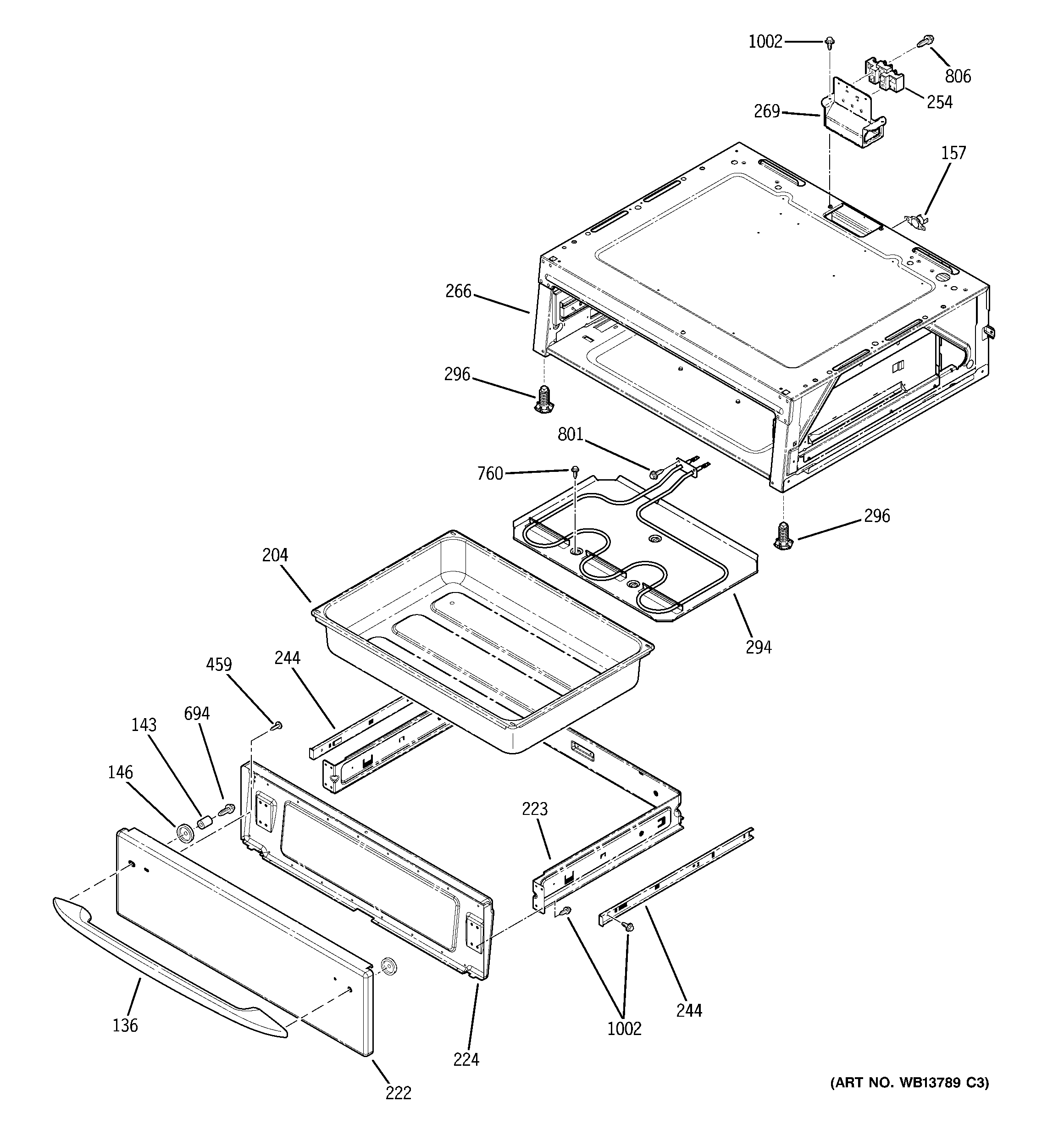GE JB900KK6CC warming drawer diagram