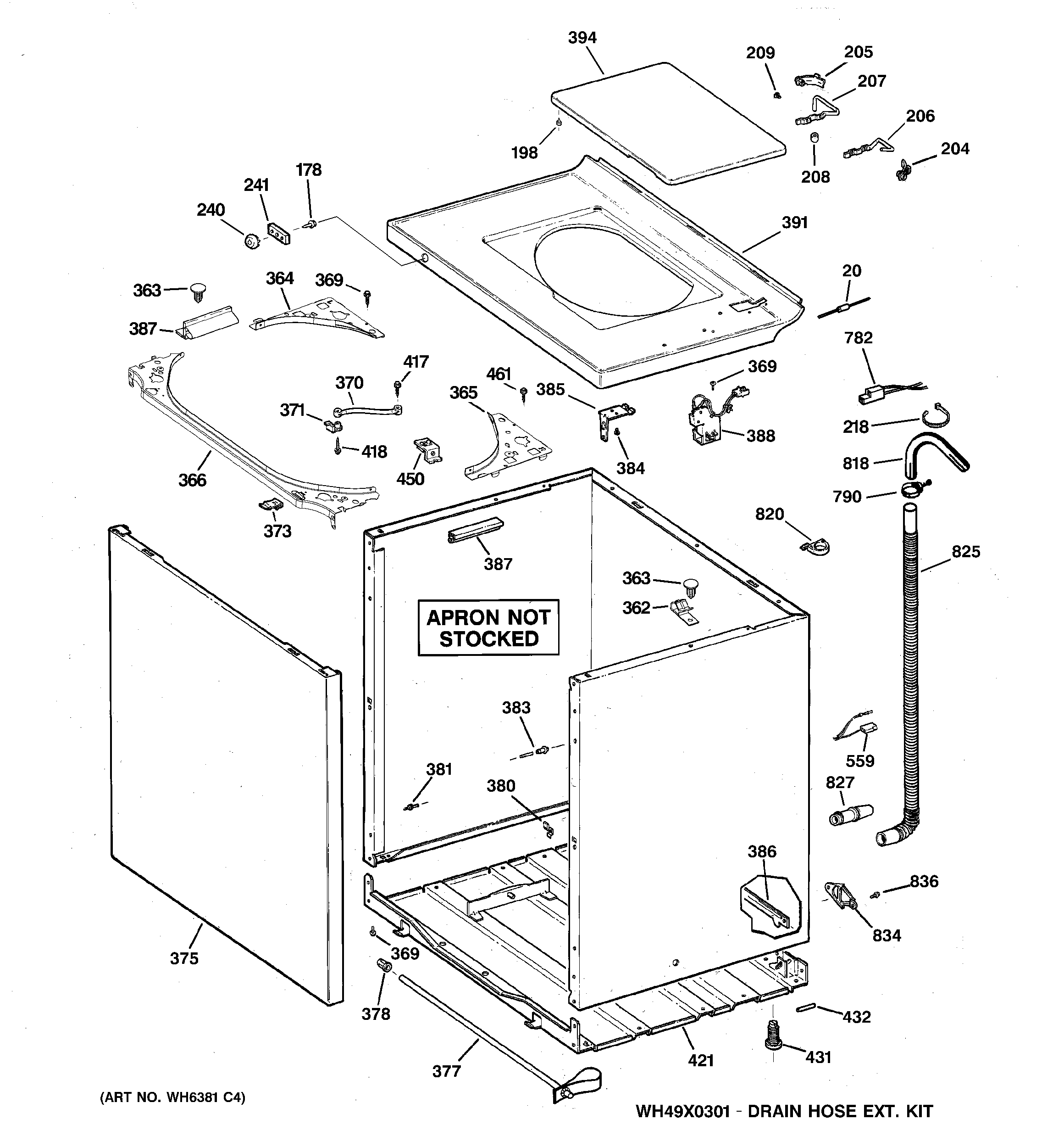 GE WCCD2050H5WC cabinet, cover & front panel diagram