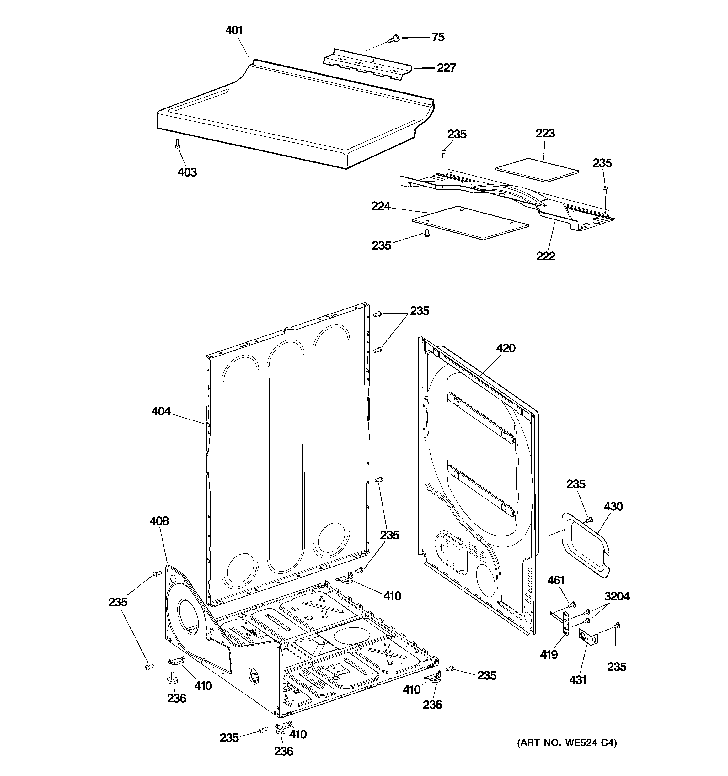 Hotpoint NISR333DTEWW cabinet diagram