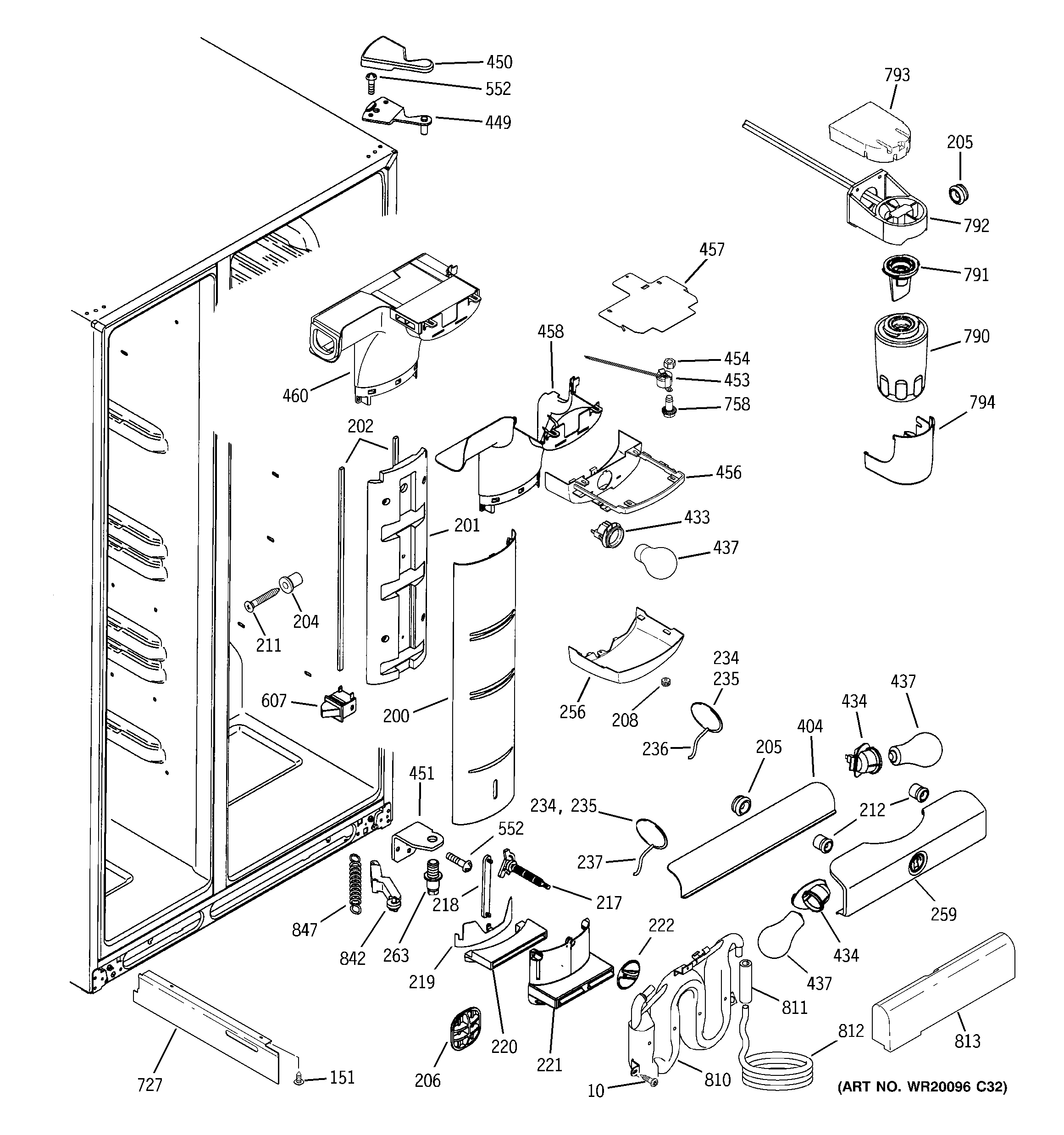 GE PSS26MSWASS fresh food section diagram