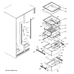 GE GSH25JFTABB fresh food shelves diagram