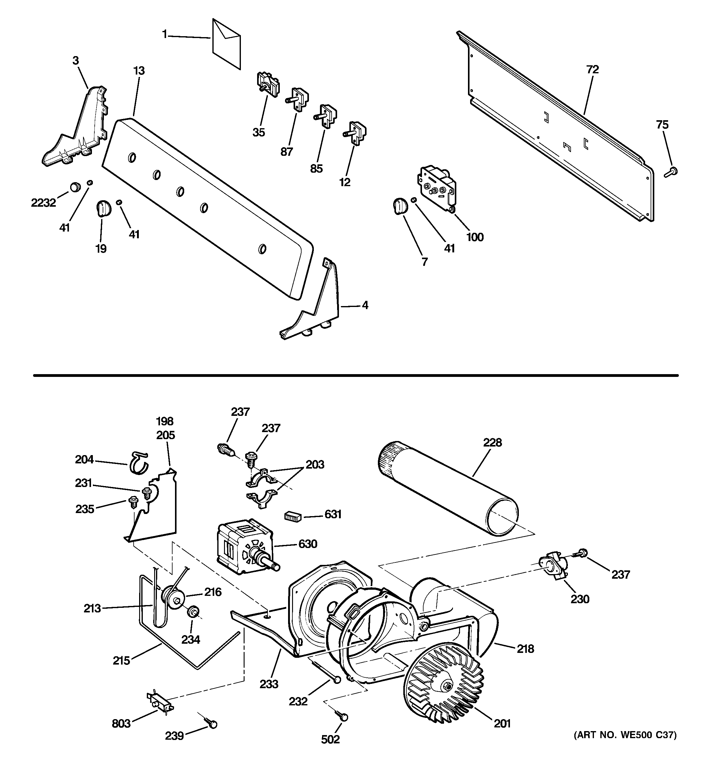 Hotpoint NWXR483EG8WW backsplash, blower & motor assembly diagram