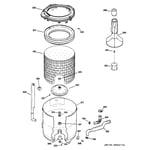 GE WBB2090G6WW tub, basket & agitator diagram