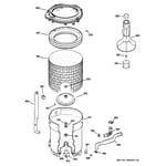 Hotpoint VVSR1030H7WO tub, basket & agitator diagram