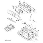 GE JGBP36DEM4BB control panel & cooktop diagram