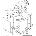 GE WPRE8150K1WT cabinet, cover & front panel diagram