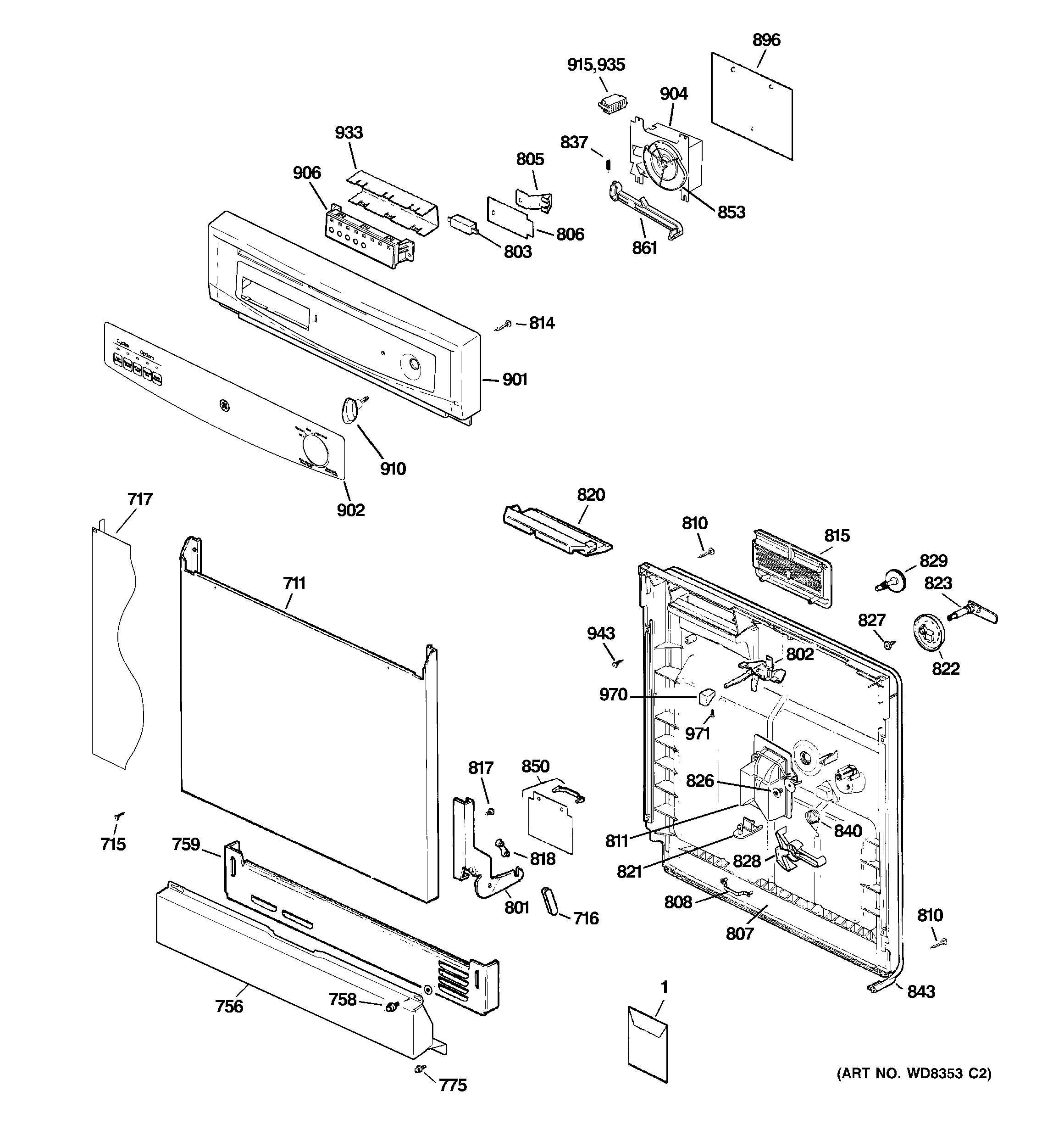 GE GSD3300R15WW escutcheon & door assembly diagram
