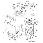 GE GSD4940C01SS escutcheon & door assembly diagram