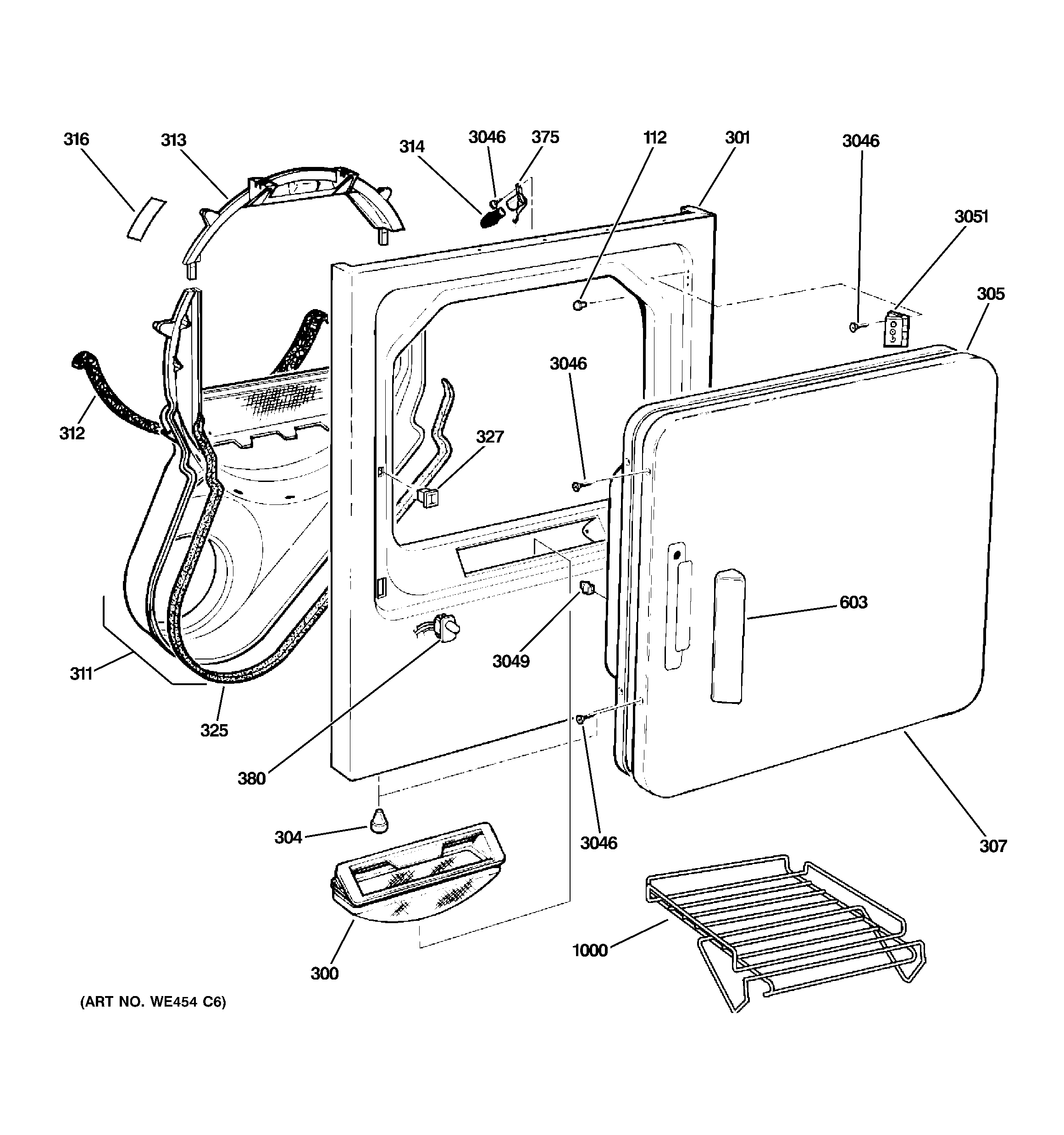 Ge  Gas Dryer  Front panel & door