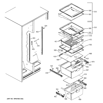GE GSH22JSCBSS fresh food shelves diagram