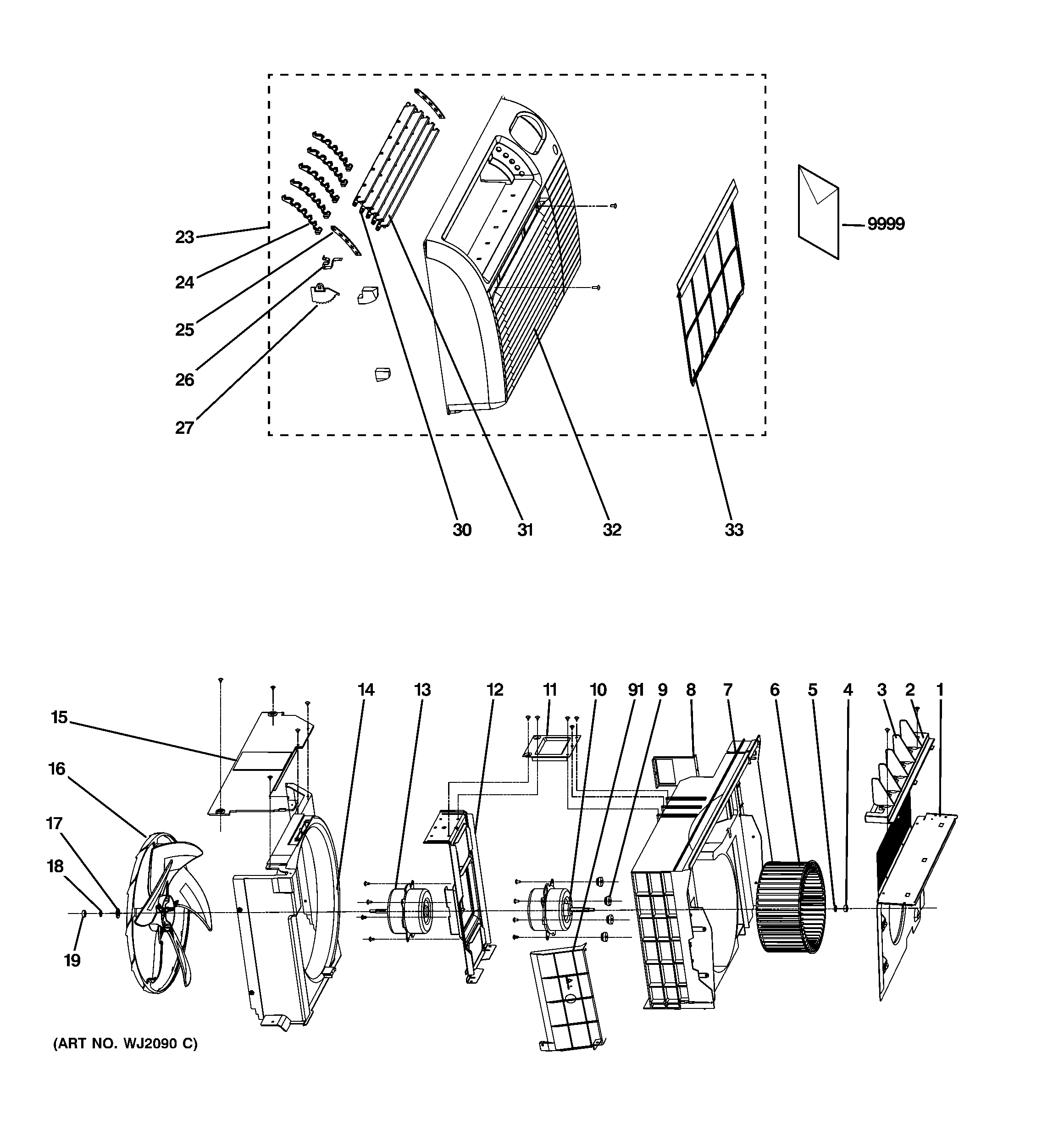 GE AJCQ10ACEH1 grille & chasis parts diagram