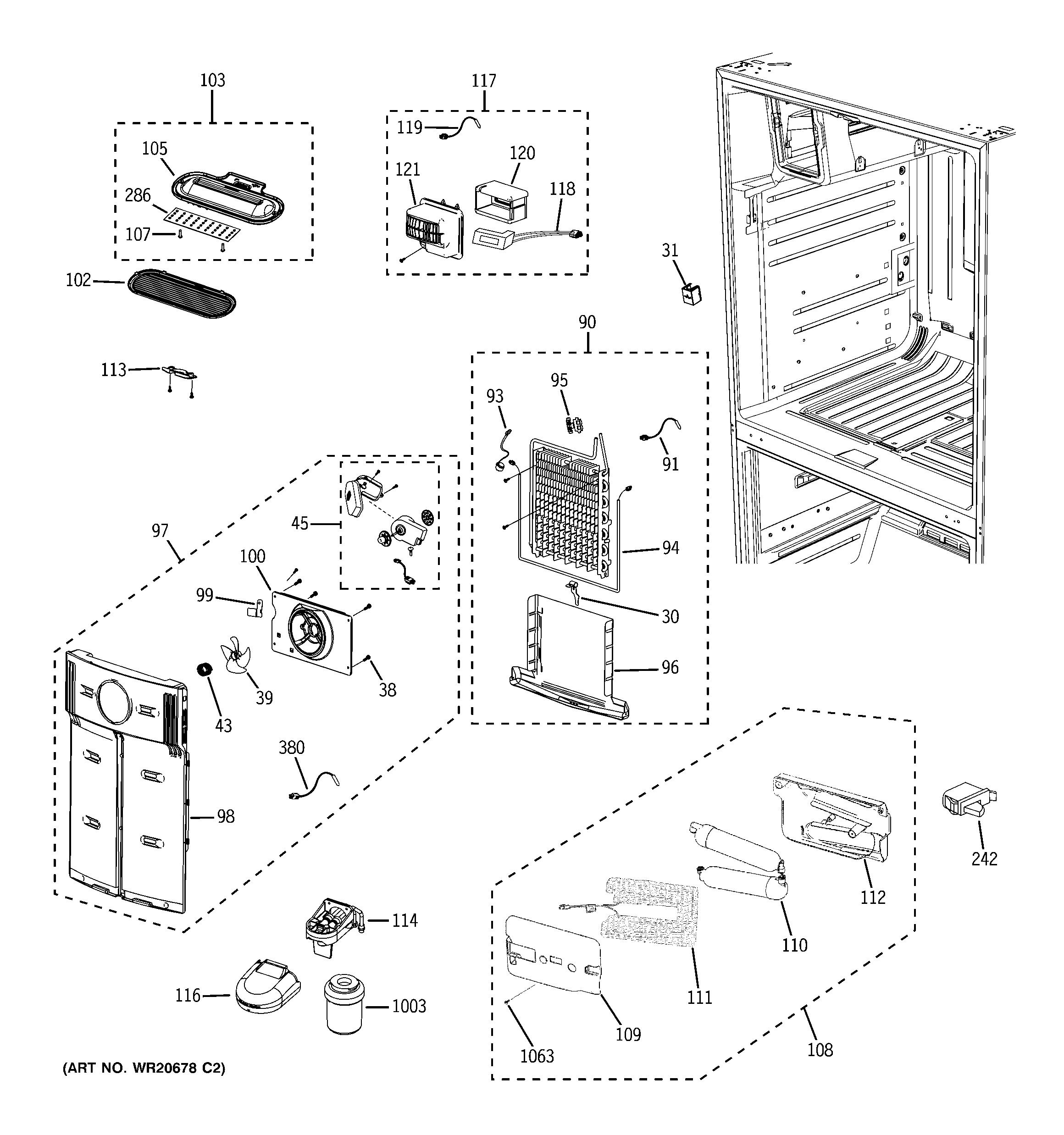 Ge Refrigerator Wiring Diagram Pfss6pkxcss Sxs Model Bottom Mount Genuine Parts Number List