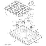 GE PGP943DET1BB control panel & cooktop diagram