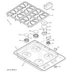GE JGP333DET1WW control panel & cooktop diagram