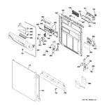GE GDWF160V55SS escutcheon & door assembly diagram