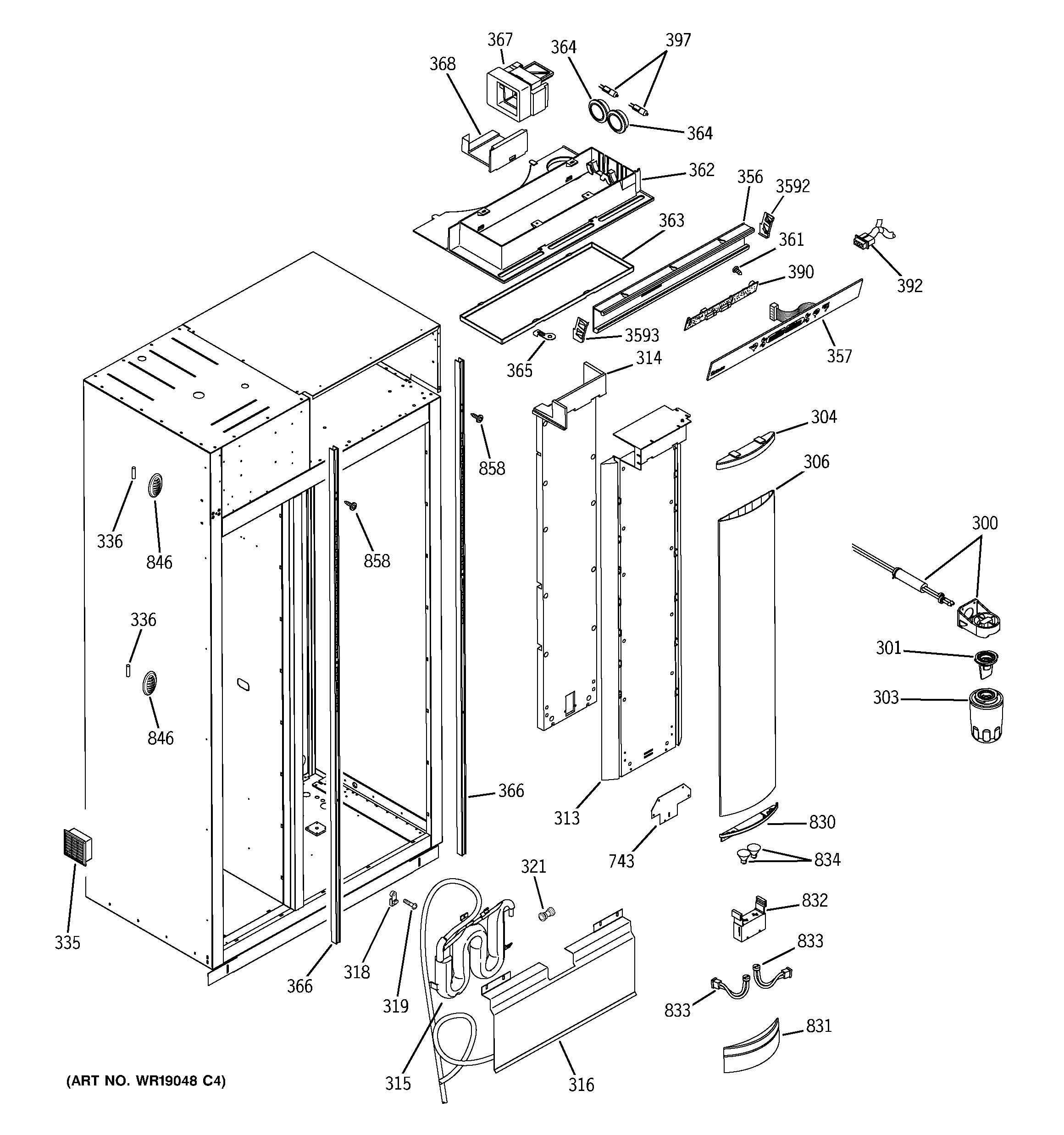 GE ZISS480DRCSS fresh food section diagram