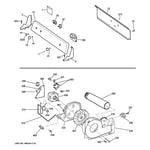 Hotpoint HTDX100GD2WW backsplash, blower & drive assembly diagram
