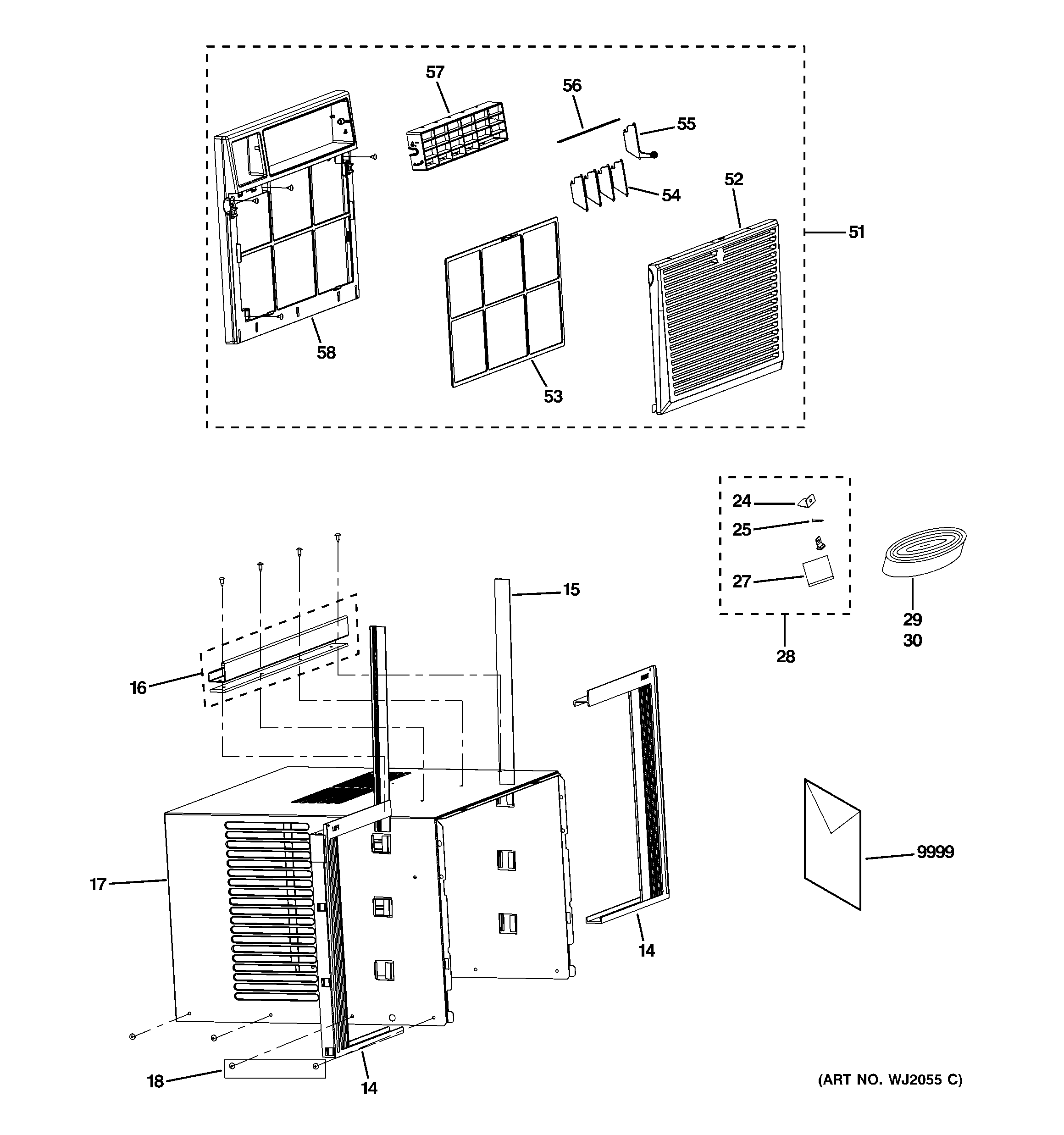GE AEQ10ASQ1 grille & chassis parts diagram